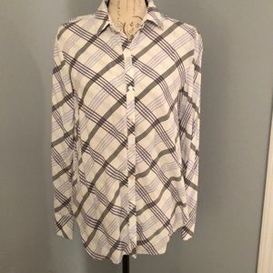 Modern blue shaded, patterned Loft blouse.